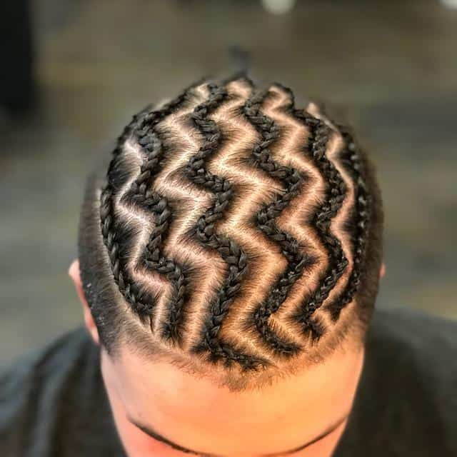 men's cornrow with zig-zag design