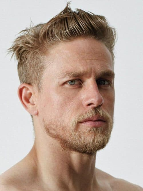 blonde cowlick hairstyle with quiff