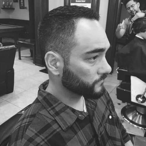 men's crew cut hair with beard