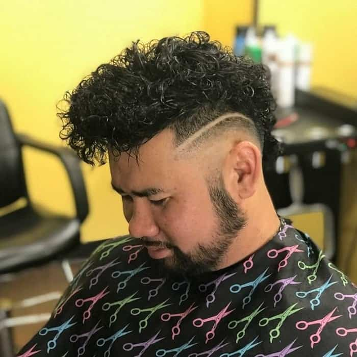 Curly Faux Hawk with Skin Fade
