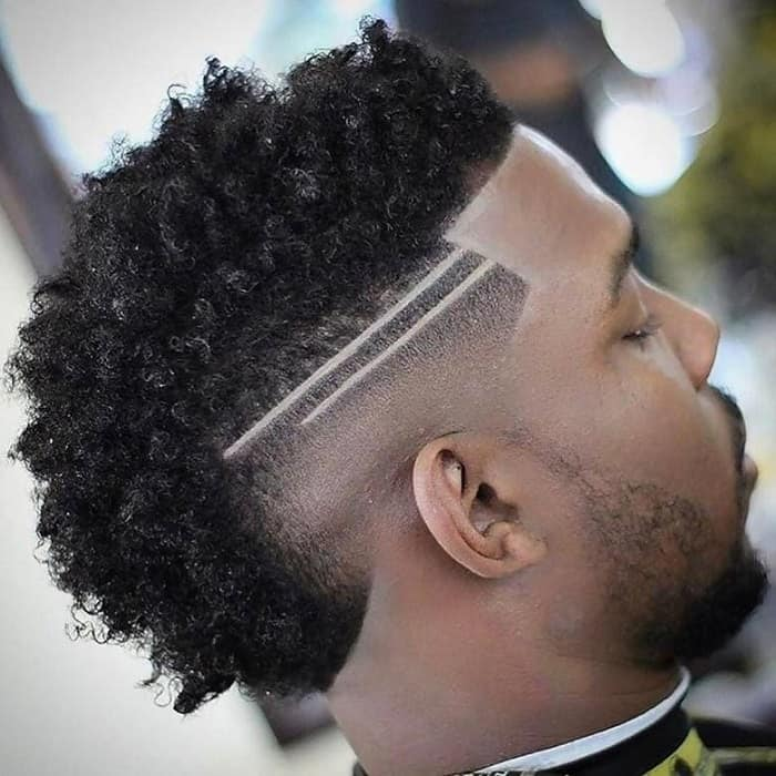 curly faux hawk for black men