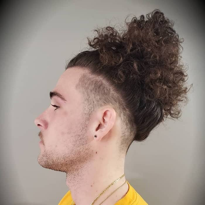 long curly hair with fade