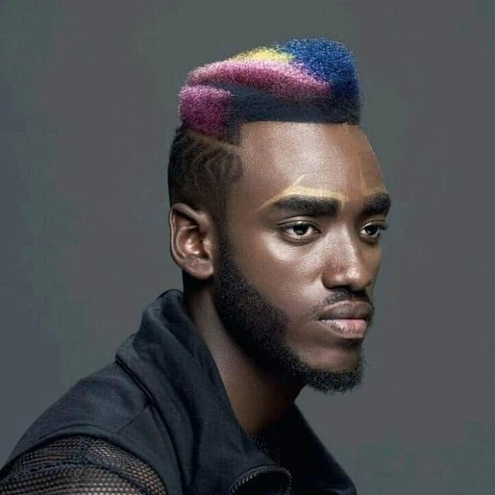 curly high top fade with colors