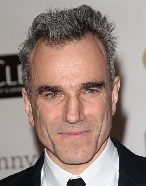 Photo of Daniel Day Lewis spiky hairstyle.