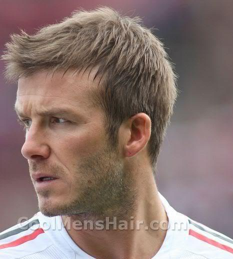 David Beckham short hairstyle with front spike.