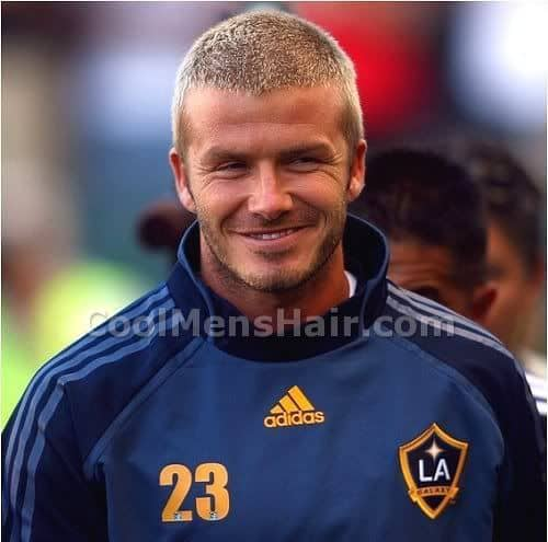 Picture of David Beckham buzz cut hairstyle.