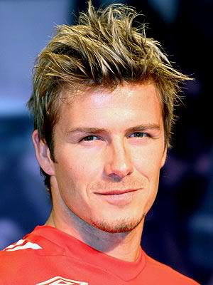 David Beckham spiky hairstyle.