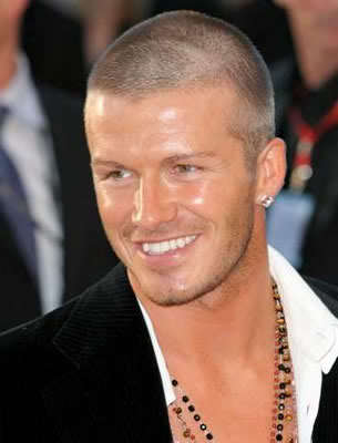 David Beckham buzz cut picture.