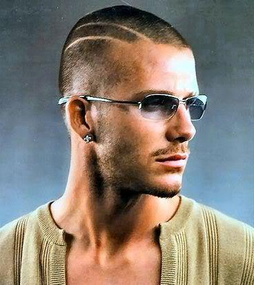 Photo of David Beckham buzz cut hairstyle with two lines.