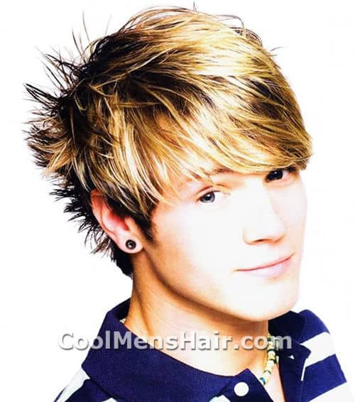 Photo of Dougie Poynter hair with short and spiked in the back.