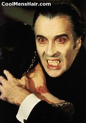 Dracula widow's peak hairstyle.