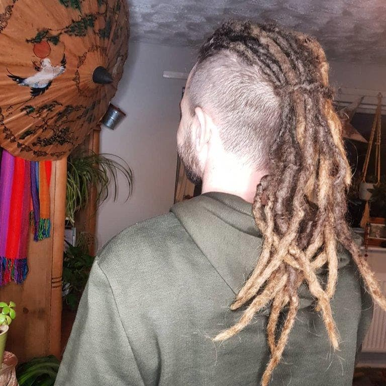 dreadlock mohawk with highlights