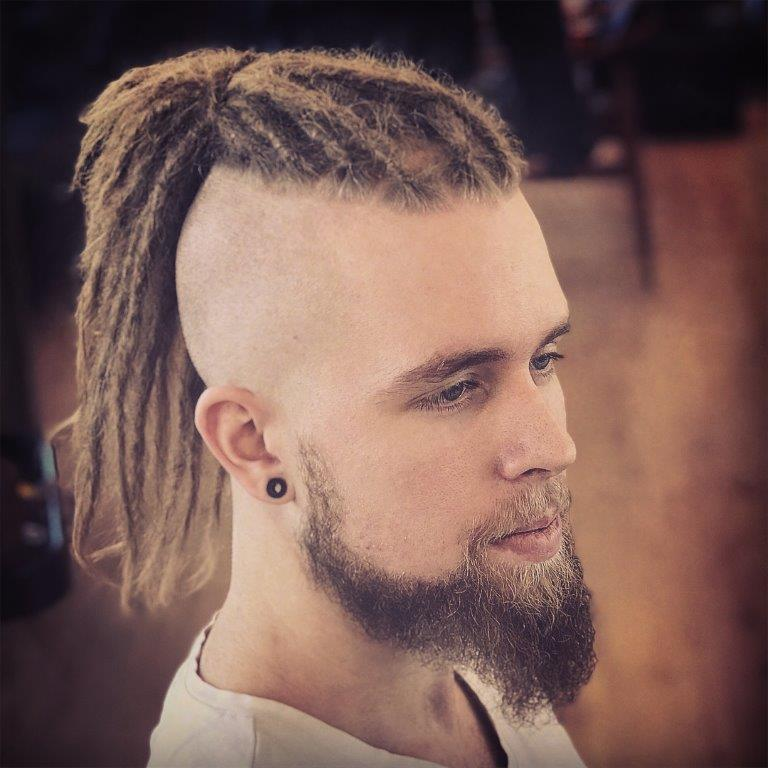 guy with high ponytail mohawk