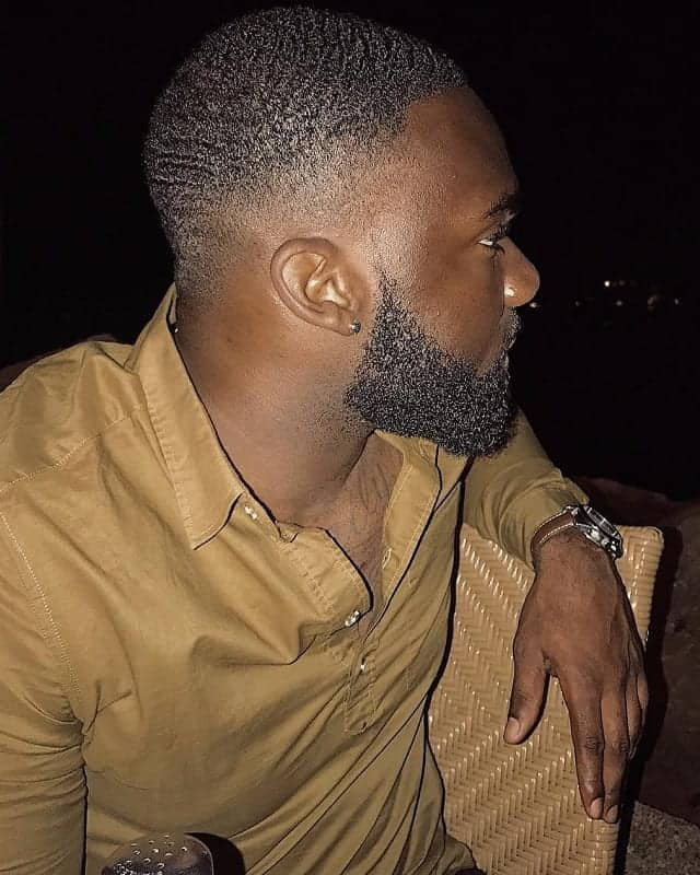 drop fade with waves and beard