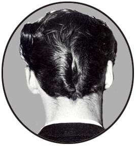 Picture of ducktail hair at the back.