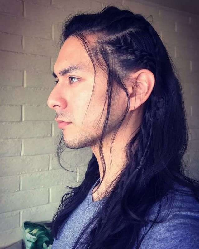 Guy with Long Hair with Side Dutch Braid