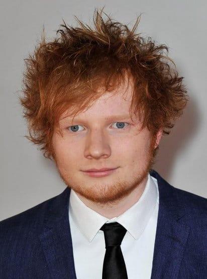 Photo of Ed Sheeran messy hair.