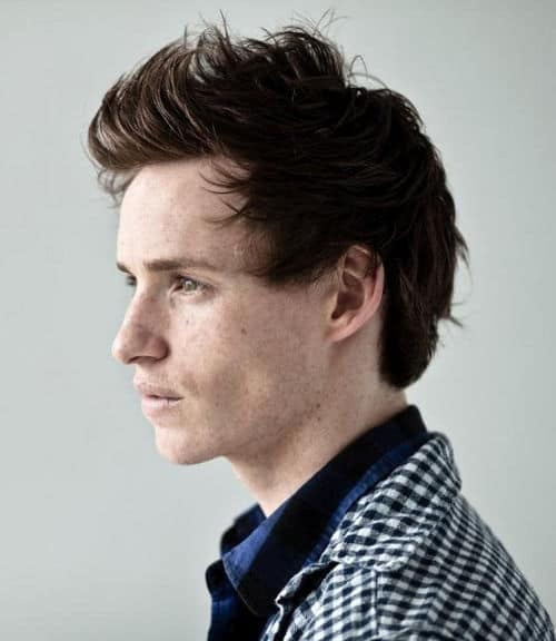 Photo of the side view of Eddie Redmayne hair.