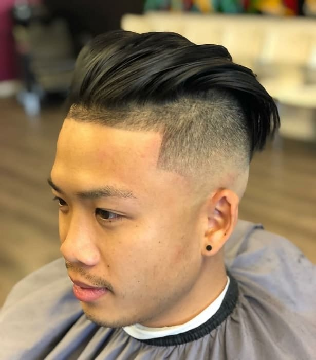 slick back undercut with high fade