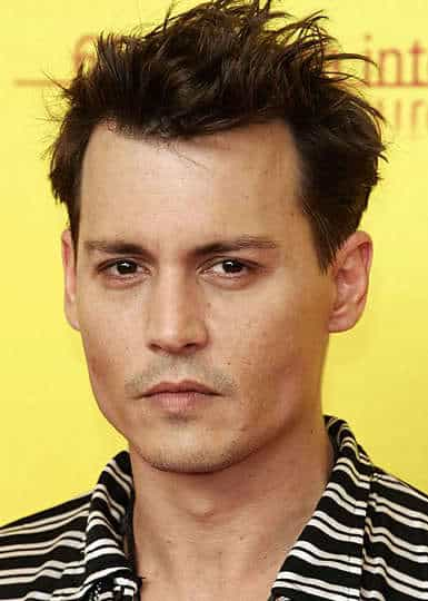 Photo of Johnny Depp hairstyle for men with diamond face.