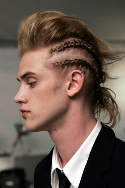 guy with faux hawk braids
