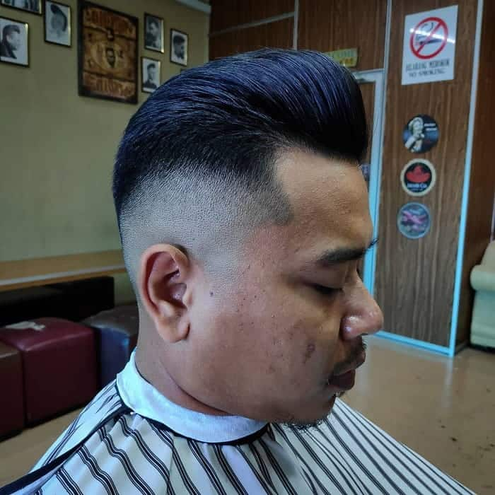 pompadour with flat top fade