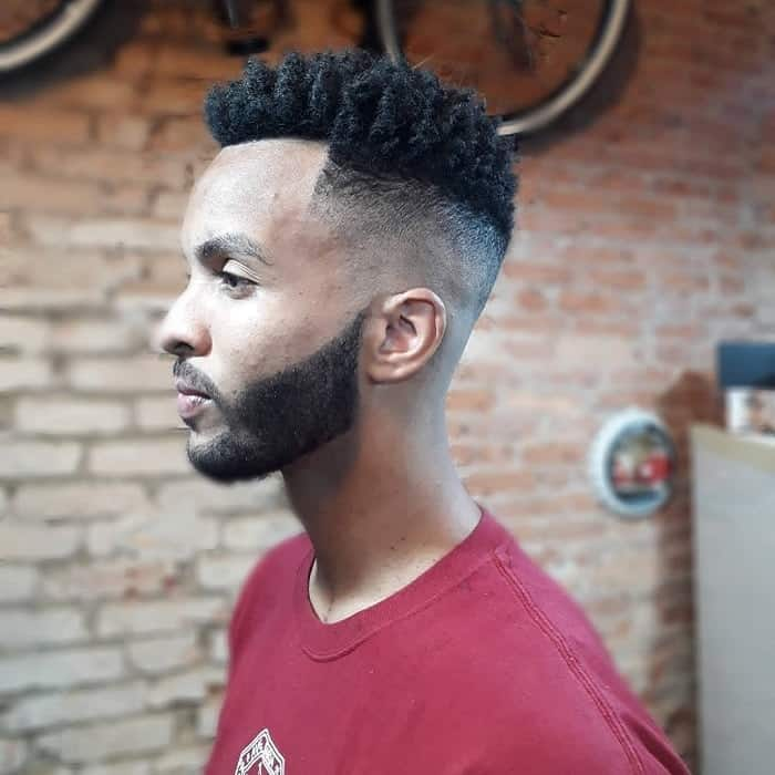 curly flat top fade