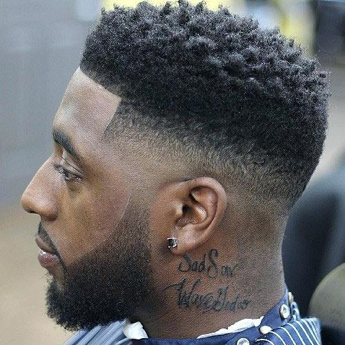 curly flat top with fade