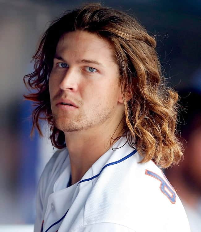 baseball player with flow hairstyle