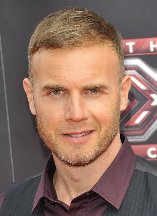 Gary Barlow brushed down hairstyle photo.