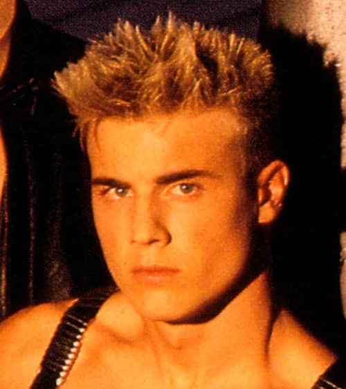Photo of Gary Barlow spiky hairstyle.