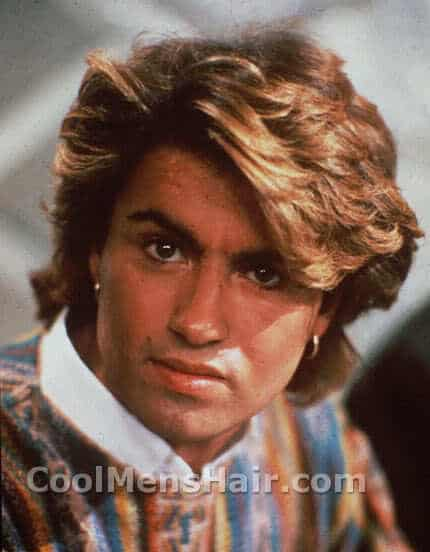 Image of George Michael medium length hair style.
