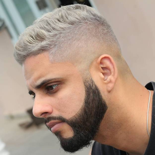 short grey hair with dark beard