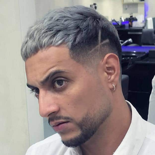 short grey hairstyles with design for men