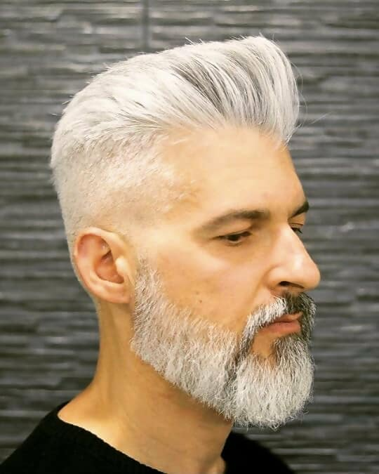 grey pompadour with short sides for men