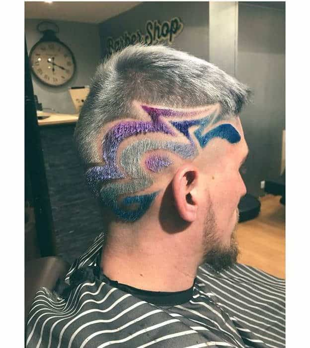 grey hairstyles with design for men