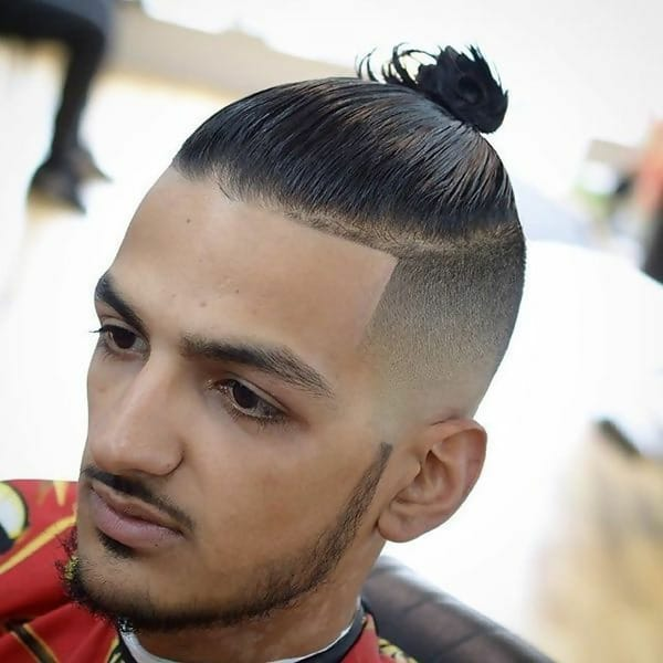 man bun for short straight hair