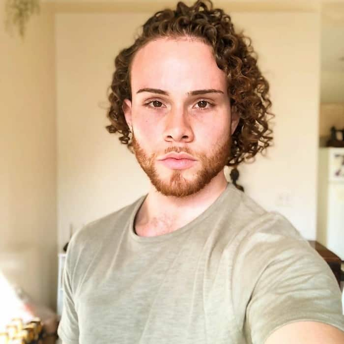 Thick Curly Hair with Side Part