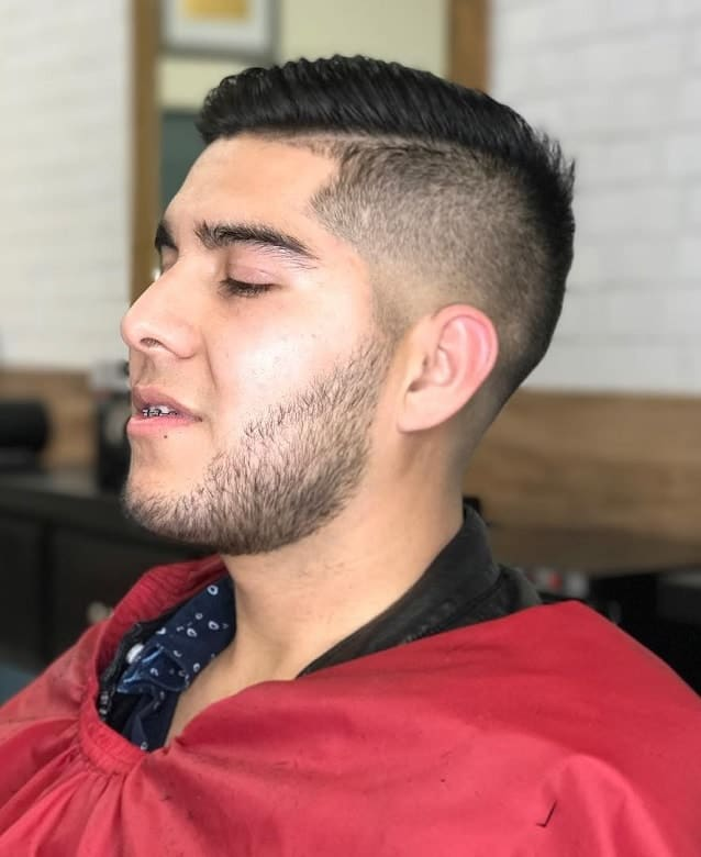 hard part comb over with low fade