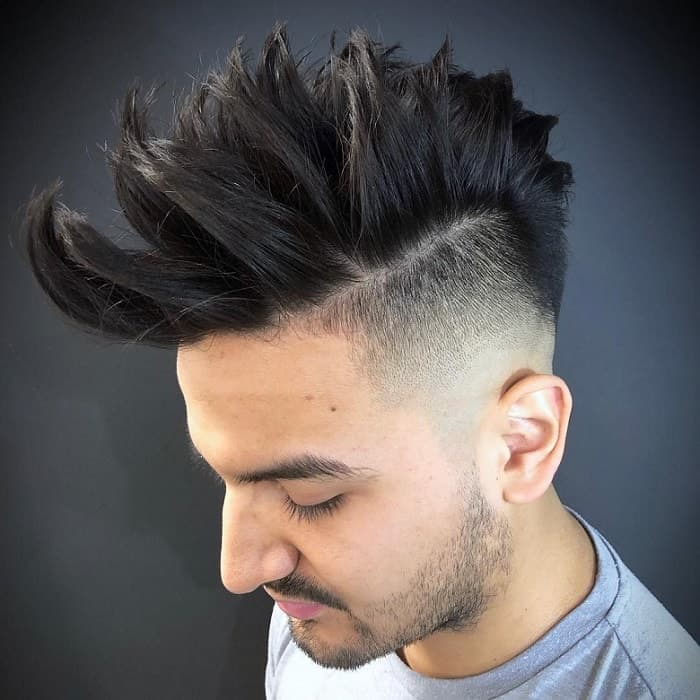 spiky hard part haircut