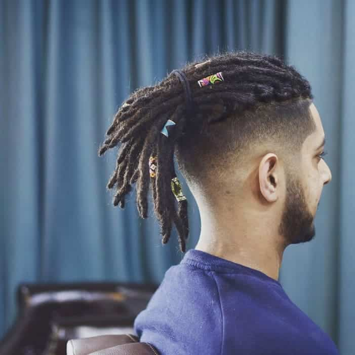 high top fade with dreaded ponytail