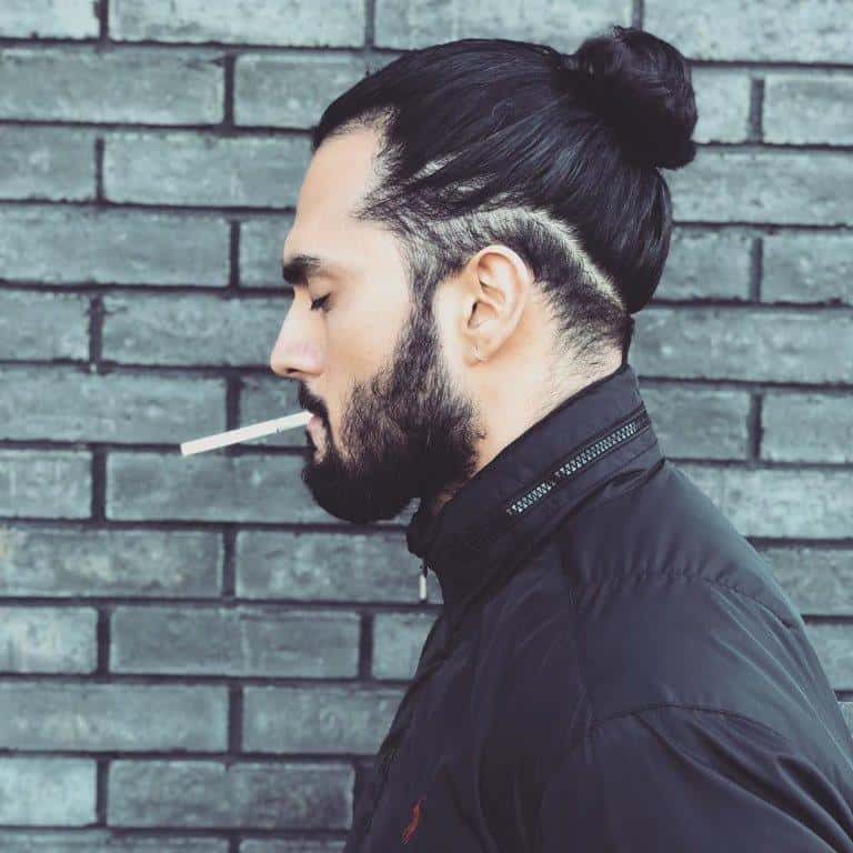 disconnected hipster man bun
