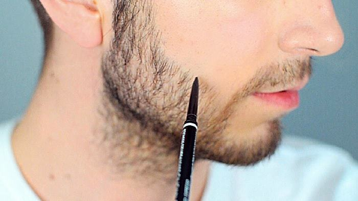 use pencil to darken facial hair