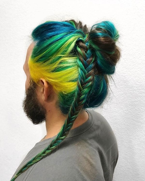 Colorful Braids for Men with Curly Hair