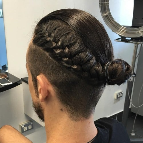 Braids and Bun with Strong Undercut for long hair