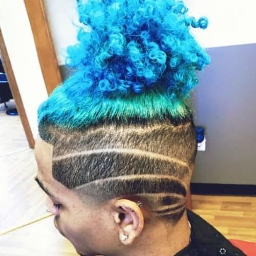 Colorful Dreadlock Ponytail with Strong and Artistic Undercut