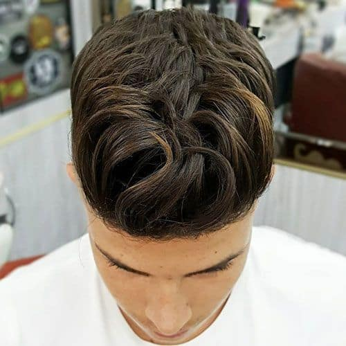 Wavy Pompadour for long curly hair