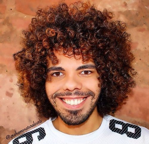 highlighted long curly hairstyles for men