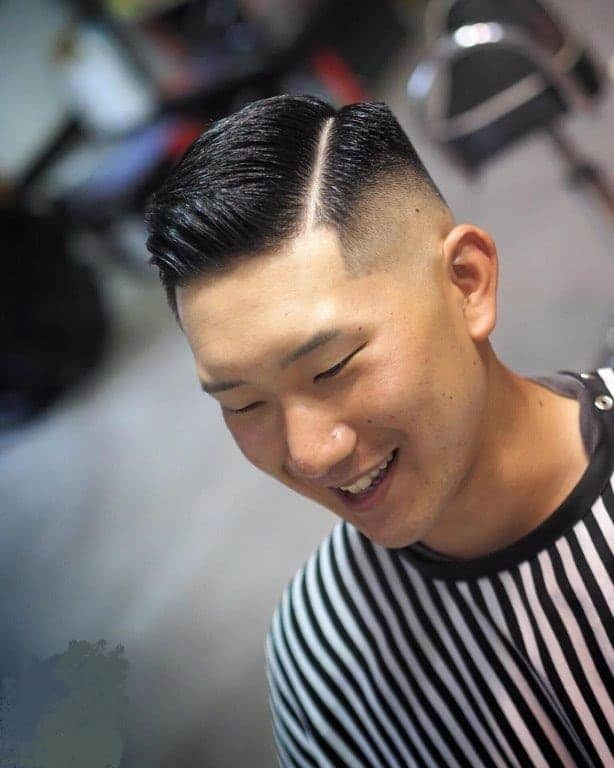 ivy league crew cut with hard part