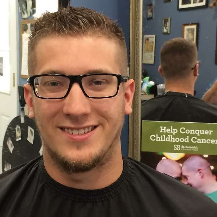ivy league haircut with glasses